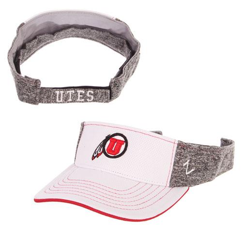 promo code 9529c 3d6e5 Image For Utah Utes White Front Athletic Logo Visor