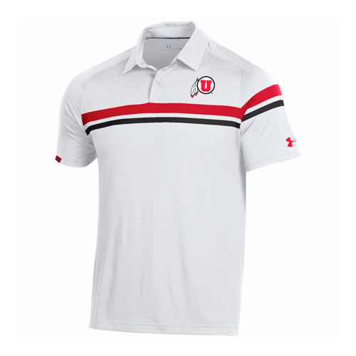 Cover Image For Utah Utes Under Armour Sideline Striped Polo Shirt