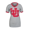 Image for Utah Utes Distressed Interlocking U Striped V-Neck Tee