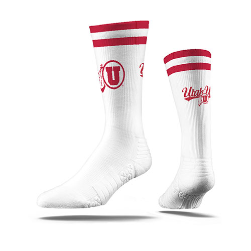 Cover Image For Utah Utes Textured Athletic Logo Socks