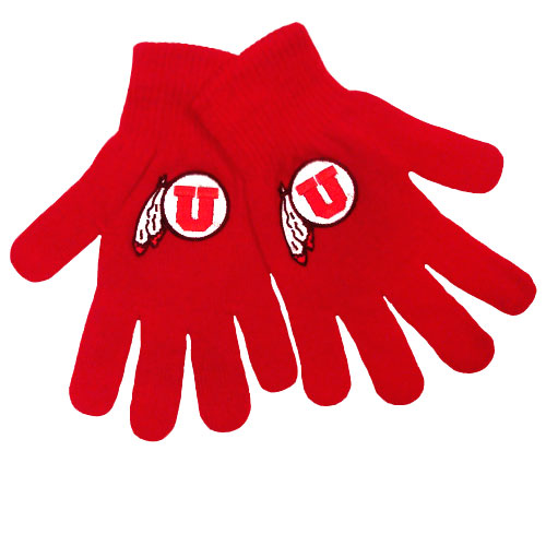 Image For Athletic Logo Red Youth Gloves