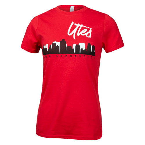 Image For Utah Utes Gymnastics City Skyline Womens Tee