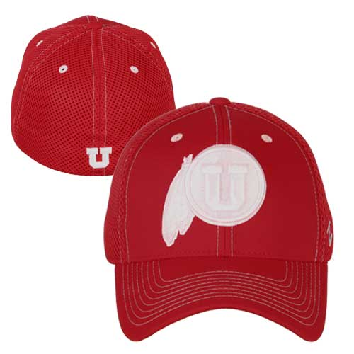 Image For Utah Utes White Athletic Logo Dark Red Stretch Fit Hat