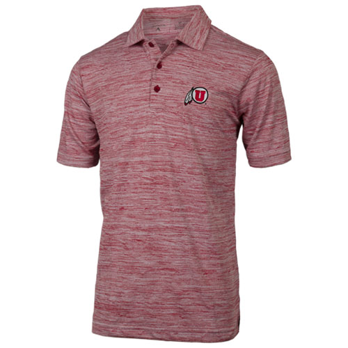 Cover Image For Utah Utes Athletic Logo Heather Red Polo