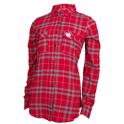 Image For Women's Utah Utes Interlocking U Flannel Dress Shirt