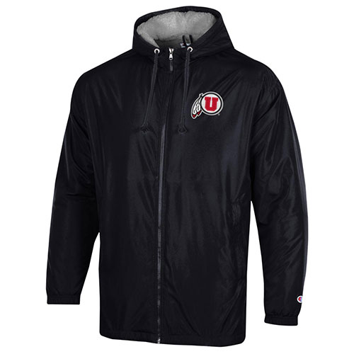Cover Image For Utah Utes Athletic Logo Black Champion Stadium Coat