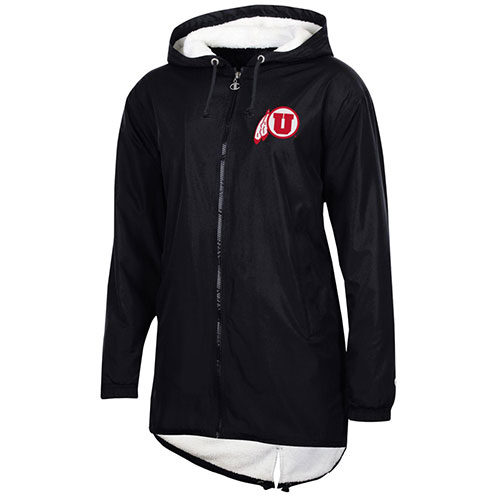 Cover Image For Utah Utes Athletic Logo Champion Women's Black Coat