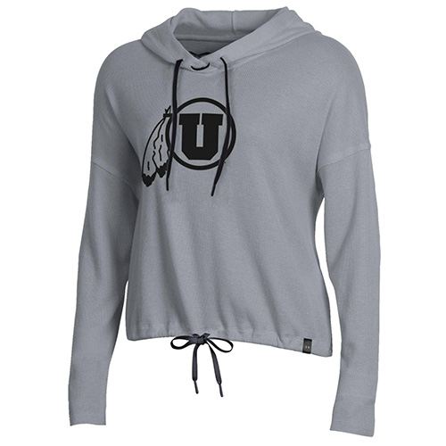 Image For Utah Utes Dark Athletic Logo Women's Waffle Knit Hoodie