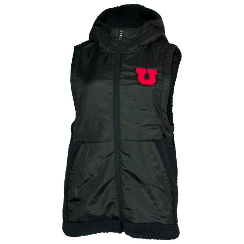 Image For Utah Utes Under Armour Black Sherpa Women's Hooded Vest