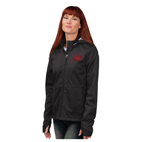 Image For Utah Utes Athletic Logo Women's Hooded Softshell Jacket