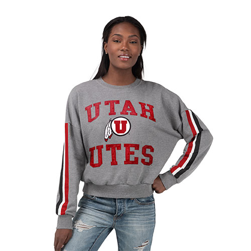 Cover Image For Utah Utes Women's Striped Sleeve Crew Neck Sweatshirt