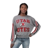 Image for Utah Utes Women's Striped Sleeve Crew Neck Sweatshirt