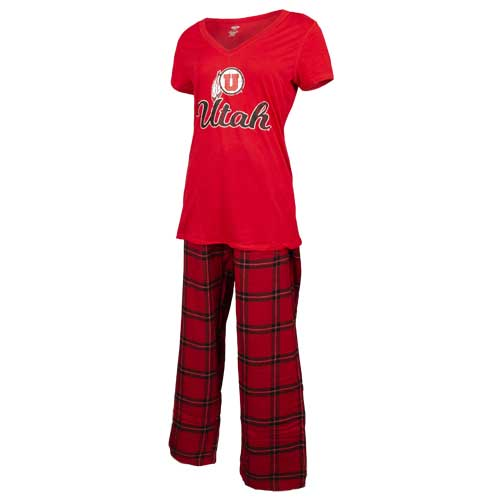 Image For Utah Utes Athletic Logo Women's Red Plaid Pajama Set