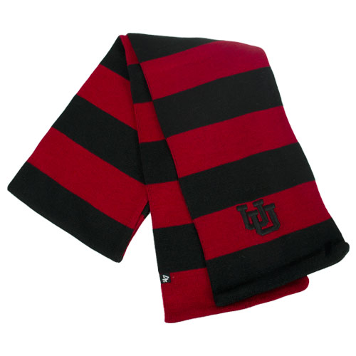 Image For Interlocking U 47 Brand Black and Red Stripped Scarf