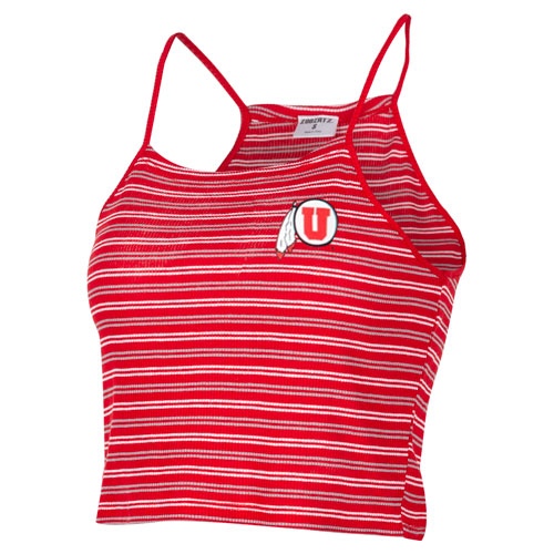 Cover Image For Utah Utes Women's Athletic Logo Striped Halter Top