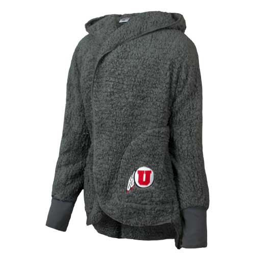 Image For Utah Utes Athletic Logo Dark Grey Sherpa Cardigan