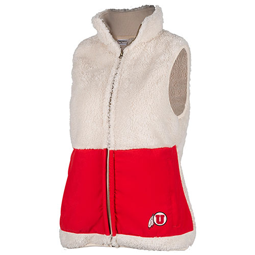 Image For Utah Utes Zoozatz Red and White Sherpa Vest