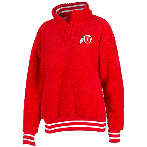 Cover Image For Utah Utes Athletic Logo Red Sherpa Quarter Zip Jacket