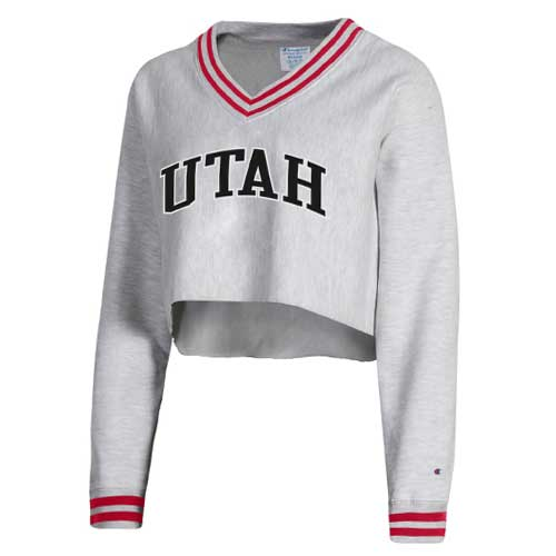 Image For Utah Utes Varsity Crop V-Neck Women's Sweatshirt