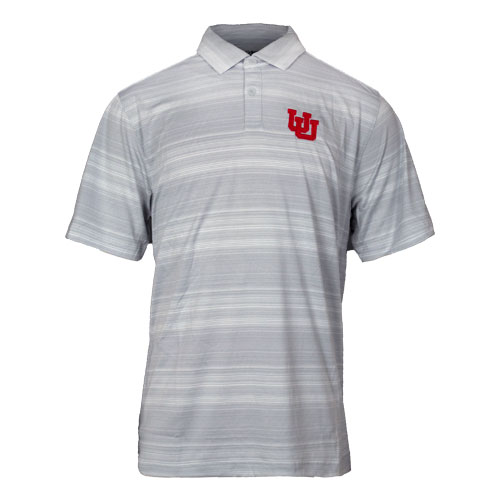 Image For Utah Utes Gray Stripes Interlocking U Polo Shirt