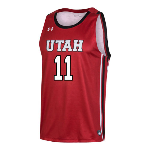 Image For Utah Utes Under Armour Basketball Red #11 Jersey