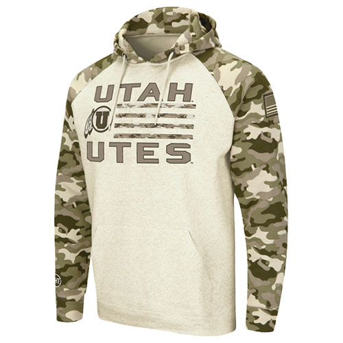 Image For Utah Utes Men's Colosseum Desert Camo Hoodie