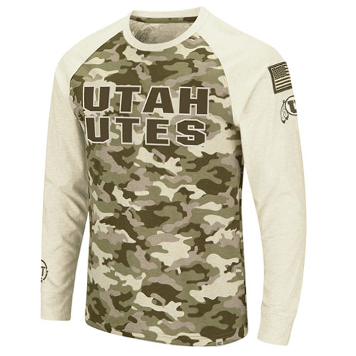 Image For Utah Utes Men's Colosseum Desert Camo Long-Sleeved Tee
