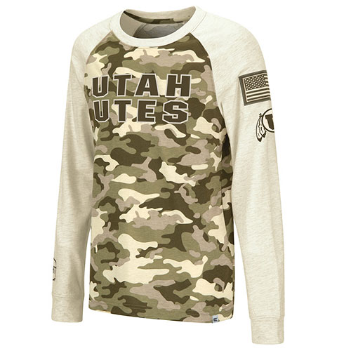 Cover Image For Utah Utes Youth Colosseum Desert Camo Long-Sleeved Tee