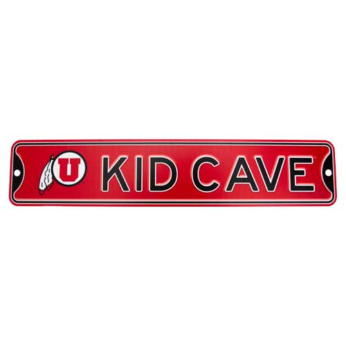 "Image For Utah Utes Steel ""Kid Cave"" Sign"