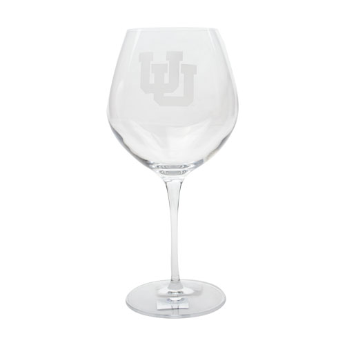Image For Utah Utes Interlocking U Red Wine Glass