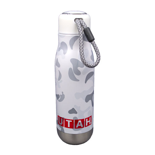Cover Image For Utah Utes 18oz White Camo Print Water Bottle