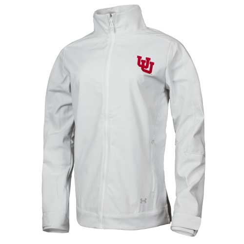 Cover Image For Utah Utes Under Armour Interlocking U White Shell Jacket