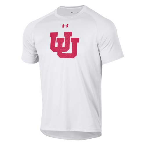 Image For Utah Utes Under Armour Interlocking U White T-Shirt