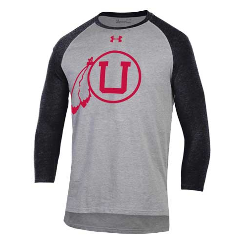 Cover Image For Utah Utes Under Armour Throwback Baseball Tee Quarter Sleeve