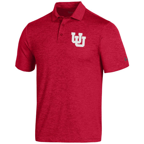 Cover Image For Utah Utes Interlocking U Under Armour Red Polo