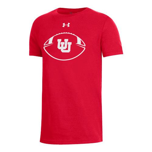 Cover Image For Utah Utes Under Armour Interlocking U Football Youth T-Shirt