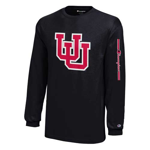 Image For Utah Utes Champion Interlocking U Longsleeve Youth Shirt
