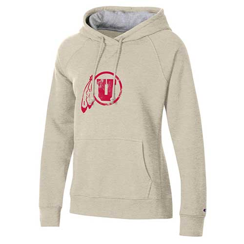 Cover Image For Utah Utes Distressed Athletic Logo Women's  Hoodie