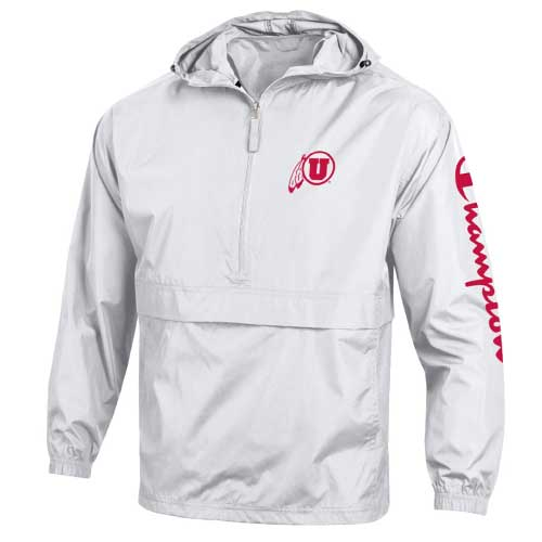 Image For Utah Utes White Packable Half-Zip Windbreaker