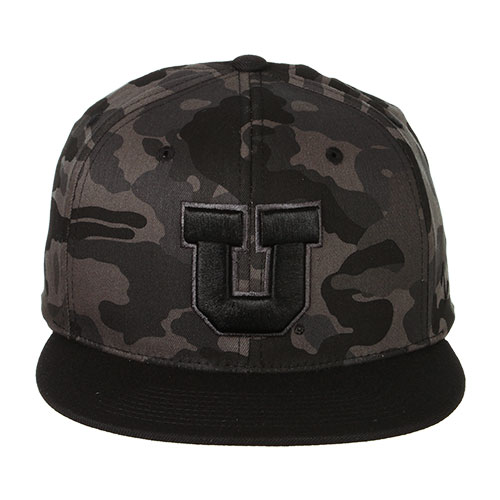 Image For Utah Utes Block U Black Camo Snapback Hat