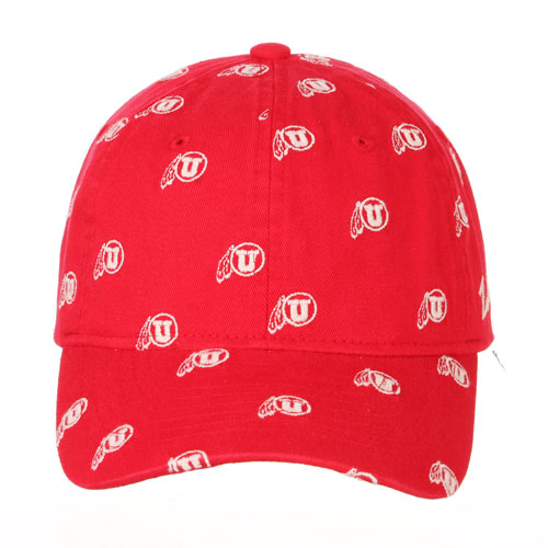 Cover Image For Utah Utes Repeating Athletic Logo Red Adjustable Hat