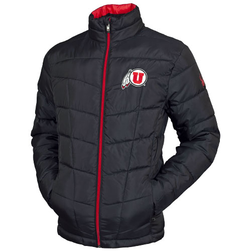 Image For Utah Utes Spyder Brand Athletic Logo Black Puffer Jacket