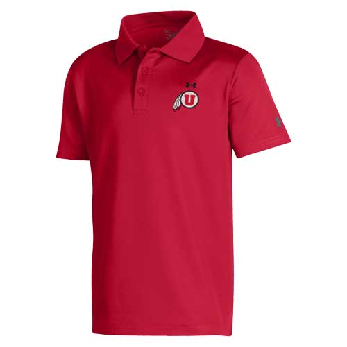 Image For Utah Utes Under Armour Athletic Logo Red Youth Polo Shirt