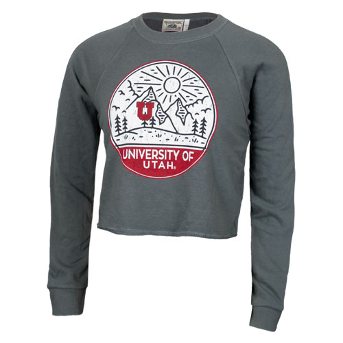 Cover Image For University of Utah Utes Women's Mountainscape Crop Sweater