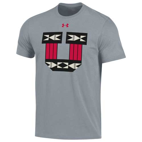 Image For Utah Utes Under Armour Gray Ute Proud Block U T-Shirt