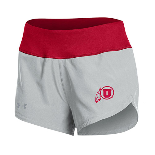 Cover Image For Utah Utes Under Armour Athletic Logo Grey Running Shorts