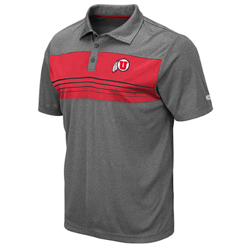 Cover Image For Utah Utes Athletic Logo Striped Center Polo Shirt