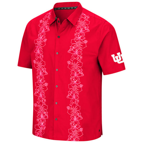 Image For Utah Utes Interlocking U Floral Chiliwear Button-up Shirt