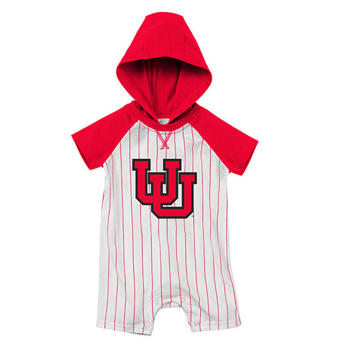 Cover Image For Utah Utes Interlocking U Red and White Baseball Onesie