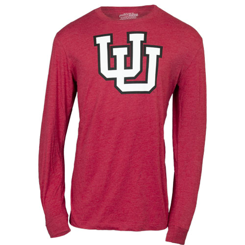 Image For Utah Utes White Interlocking U Red Long Sleeve